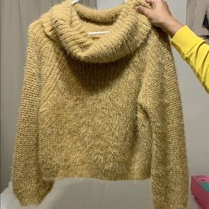 Sweaters - Fuzzy tan pullover turtle neck sweater